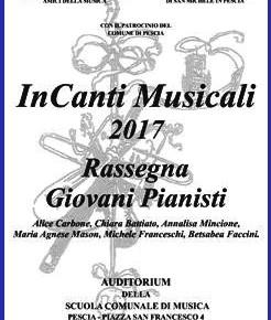 Pescia sabato 27 maggio InCanti Musicali Rassegna giovani pianisti