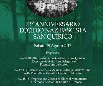 San Quirico sabato 19 agosto 73° Anniversario Eccidio di San Quirico