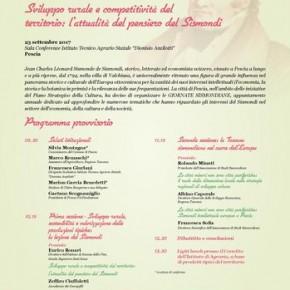 ITAS Pescia sabato 23 settembre. Sviluppo rurale e competitività del territorio: l'attualità del pensiero del Sismondi