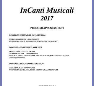 Pescia domenica 22 ottobre ''InCanti Musicali Alberto Bologni''.