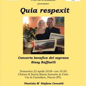 """Domenica 22 aprile Chiesa di Santa Maria Assunta in Cielo, Castellare di Pescia. Concerto di Sissy Raffaelli  """" Quia Respexit"""""""