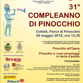 Collodi 26 maggio, 31^Compleanno di Pinocchio: scuole premiate e finaliste, gli Amici di Pinocchio, riconoscimenti speciali