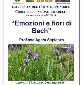 """Giovedì 24 maggio,Università del tempo disponibile """"Emozioni e fiori di Bach"""""""