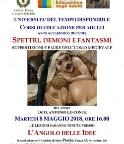 """Pescia martedì 8 maggio l'Angolo delle Idee Conferenza dal titolo """"Spettri, demoni e fantasmi - Superstizioni e paure dell'uomo medievale""""."""