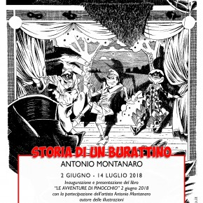 """Le illustrazioni """"Storia di un burattino - Antonio Montanaro""""  sono in mostra al Parco di Pinocchio fino al 14 luglio 2018"""