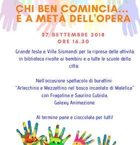 """Giovedì 27 settembre Biblioteca """"Carlo Magnani""""  """"Chi ben comincia"""" Festa per bambini in biblioteca"""