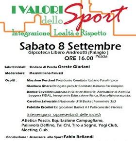 Palagio sabato 8 settembre convegno ''I valori dello sport Integrazione, lealtà e rispetto''.
