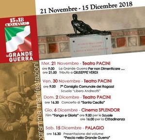 Pescia nella grande guerra eventi collaterali dal 21 novembre al 15 dicembre
