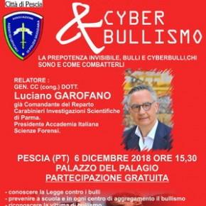 Pescia Palagio 6 dicembre. Convegno ''Bullismo & Cyber bullismo''.