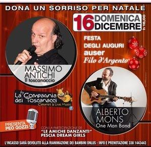 """Teatro Pacini 16 dicembre. Festa degli auguri Auser Filo d'argento """"Dona un sorriso per Natale"""""""