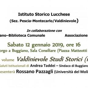 Sabato 12 gennaio, ore 16, presentazione numero 17 di Valdinievole Studi Storici a Borgo a Buggiano.