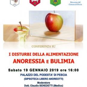 """Pescia Palagio 19 gennaio. Conferenza """"Disturbi alimentari - Anoressia e Bulimia"""""""