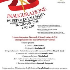 Pescia sabato 26 gennaio Istituto comprensivo Libero Andreotti.  Inaugurazione palestra di Valchiusa