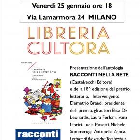 """Venerdì 25 gennaio  """"Racconti nella Rete"""" alla Libreria Cultora - MILANO"""