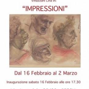 """Pescia sabato 16 febbraio. Bottega d'arte Salvadori di Pescia""""Impressioni"""" mostra dell'artista Lina Vinazzani"""