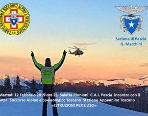 Pescia martedì 12 febbraio. Incontro C.A.I. con gli operatori del Soccorso Alpino e Speleologico Toscano