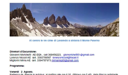 """C.A.I. - sezione Pescia e Valdinievole - venerdì 2 e sabato 3 agosto 2019  Escursione """"Alpi sud Orientali Dolomiti di Sesto"""""""