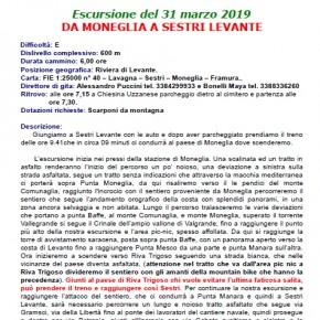 C.A.I. Pescia domenica 31 marzo. - Escursione da Moneglia a Sestri Levante -