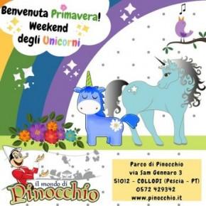 Pinocchio saluta la primavera con il weekend degli unicorni.  Sabato 23 e domenica 24 ci saranno anche i Giochi in piazza.