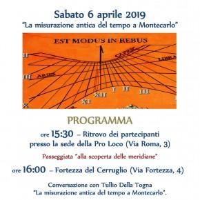 Montecarlo sabato 6 aprile ''La misurazione antica del tempo a Montecarlo''