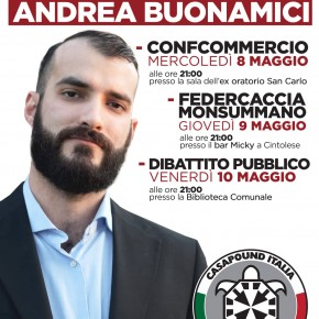 ELEZIONI MONSUMMANO, PROSSIMI APPUNTAMENTI DEL CANDIDATO SINDACO DI CASAPOUND ANDREA BUONAMICI