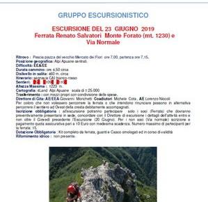 """CAI domenica 23 giugno. Escursione """"Ferrata Renato Salvatori Monte Forato (mt. 1230) e Via normale"""""""