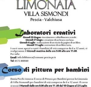 """Corsi per bambini presso la Limonaia di Villa Sismondi - Biblioteca """"Magnani"""" -"""
