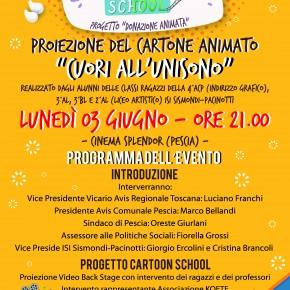 """Pescia Cinema Splendor giovedì 3 giugno. Proiezione di """"Cuori all'unisono"""" il cartone animato realizzato dai ragazzi dell'ISIS Sismondi-Pacinotti di Pescia, che hanno partecipato a Cartoon School"""