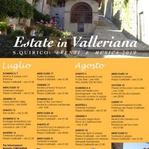 San Quirico di Pescia .*Estate in Valleriana* Carnet ricco di eventi dal 7 Luglio al 21 di Agosto.