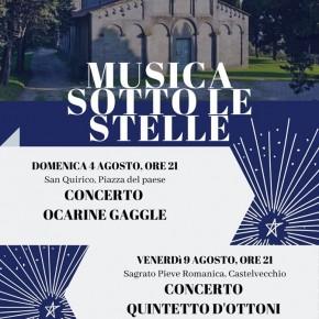 """San Quirico di Pescia. Domenica 4 Agosto e Venerdì 9 Agosto """"Musica sotto le Stelle"""""""