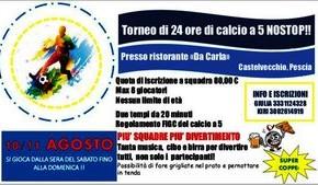 """Ristorante """"da Carla"""" 10 e 11 agosto. Torneo di 24 ore di Calcio a 5 NOSTOP!"""