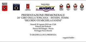 """Pescia venerdì 30 agosto. Presentazione Premondiale 24° Inter. Femm. """"Ricordo di Michela Fanini"""" al Palagio."""