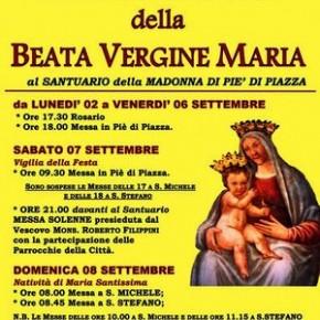 Pescia Santuario della Madonna a Piè di Piazza 2-8 settembre. Festa della Natività della Beata Vergine Maria