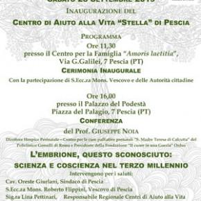 """Pescia sabato 28 settembre. Centro di aiuto alla vita """"Stella"""" Inaugurazione a Villa Matilde - Conferenza al Palazzo del Podestà"""