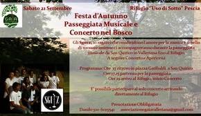 """Rifugio """"Uso di sotto"""" sabato 21 settembre. Festa d'Autunno / Passeggiata Musicale e Concerto nel bosco"""