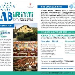 Collodi, iscrizioni alla cena in sostegno di LABirinti progetto rivolto ai minori del territorio della Valdinievole