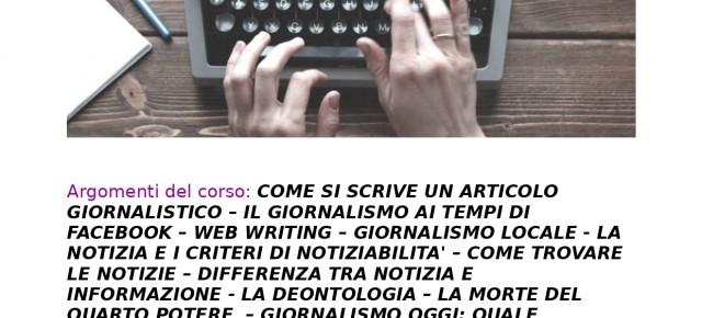 Biblioteca Comunale Carlo Magnani.Corso di scrittura giornalistica dal 6 novembre 2019 al 22 gennaio 2020
