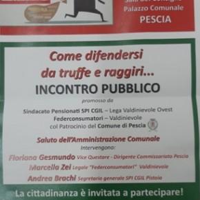 """Pescia giovedì 21 novembre  l'incontro pubblico: """"Come difendersi da truffe e raggiri"""","""