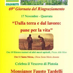69ª Giornata provinciale del Ringraziamento di Coldiretti a Quarrata  17 Novembre, ore 11 Santa Messa celebrata dal Vescovo di Pistoia Monsignor Fausto Tardelli