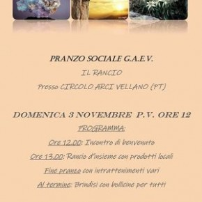 Domenica 3 novembre. Pranzo Sociale G.A.E.V. - Il Rancio - Circolo A.R.C.I. di Vellano