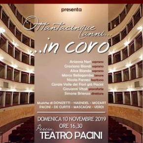"""Pescia Teatro Pacini. Domenica 10 novembre. Ottantacinque anni in coro"""" - Corale Valle dei Fiori già Pacini"""