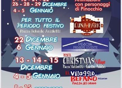 """Pescia Piazza Matteotti e Piazza del Grano. """"Natale a Pescia"""" - """"Pescia Christmas Village"""" - """"Il Villaggio del Befano Pesciatino""""."""