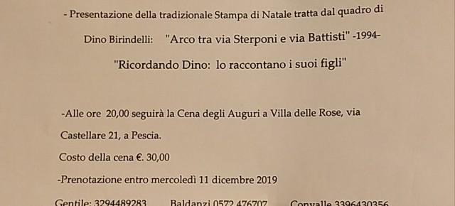 Palagio sabato 14 dicembre ore 17. Gli Amici di Pescia ricordano Dino Birindelli. Presentazione stampa di Natale e ricordo dei figli. Alle ore 20 cena degli Auguri a Villa delle Rose.