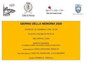 """Pescia Teatro Pacini. """"Giorno della Memoria 2020"""""""