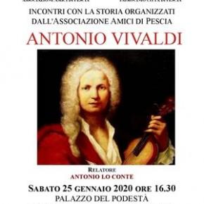"""Palagio sabato 1 febbraio. Conferenza: """"Antonio Vivaldi. Incontri con la storia organizzati dall'Associazione 'Amici di Pescia'."""