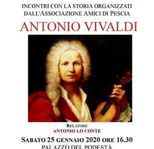 """Palagio sabato 25 gennaio. Conferenza: """"Antonio Vivaldi. Incontri con la storia organizzati dall'Associazione 'Amici di Pescia'."""