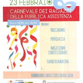 Pescia domenica 23 febbraio 2020. Carnevale dei ragazzi della Pubblica Assistenza