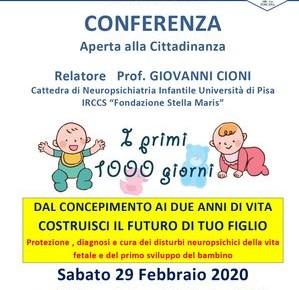 Palagio sabato 29 febbraio. Conferenza ''DAL CONCEPIMENTO AI DUE ANNI DI VITA, COSTRUISCI IL FUTURO DI TUO FIGLIO''.