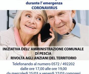 L'Amministrazione ti ascolta dal 25 al 27 marzo, dalle 17 alle 19 Sindaco, ViceSindaco e Ass, alle Politiche Sociali, rispondono alle persone anziane e sole