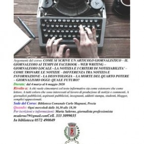 "Pescia Biblioteca ""Magnani"".Corso di scrittura giornalistica"